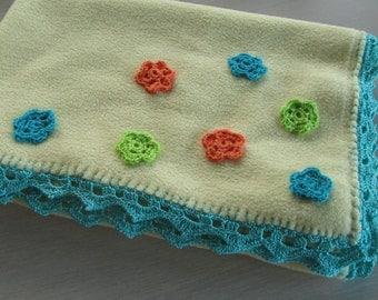 Baby blanket fleece, crochet applications and lace border, stroller blanket, security blanket
