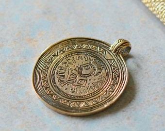 Tribal Pendant, Bronze Tribal Pendant, Tribal Man Pendant, Hyroglyphics Pendant, Bronze Pendant, One, AK15-052