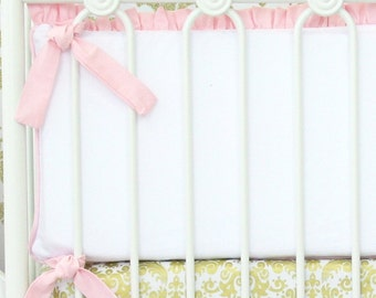 Light Pink and White Ruffle Crib Bumpers | Peggy's Pink and Gold Damask Collection
