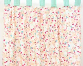 15% OFF SALE - Mini Floral Peach and Mint Curtain Panels (set of 2)