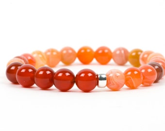 Sacral Chakra Bracelet, Natural Carnelian Gemstone Bracelet, Gemstone Bracelet, Handmade Jewelry, Gemstone Jewelry, unique-gift-for-wife