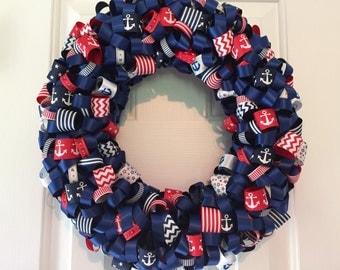 Handmade Red and Navy Nautical Ribbon Wreath