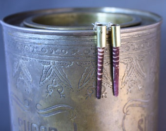 Rounded Brass Sea Urchin Spine Punk Earrings with Silver Posts