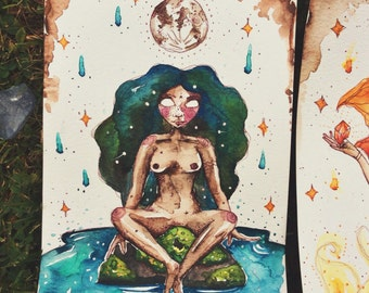 Water Elemental Goddess ~ watercolour original painting