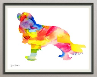 cavalier king charles spaniel dog art print watercolor print poster painting wall art silhoutte , dog wall art