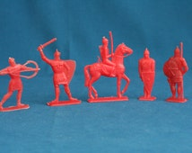 vintage 5 army toy Soldiers and Knight on Horse plastic russian ussr 60's 70's
