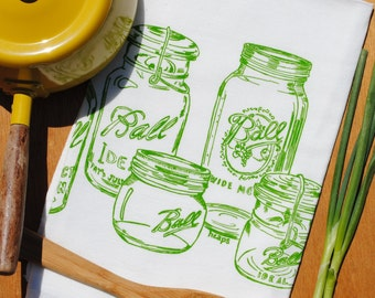 Kitchen Tea Towel - Mason Jar Towels - Dish Towel - Cotton Flour Sack Towel - Mason Jars Prints - Green Kitchen Towels - Cotton