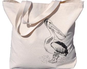 Black Pelican Canvas Tote Bag - Screen Printed Cotton Nautical Tote Bag - Unique Bridal Shower Gift