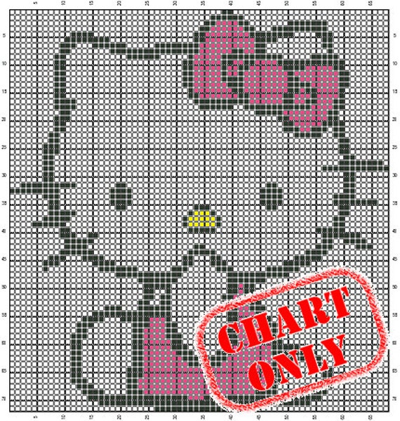 CHART ONLY Hello Kitty Color Chart for Cross Stitch by StarSquared