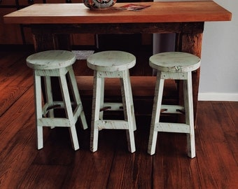 """Bar Stool - Rustic Reclaimed Barn Wood (Finished) w/Round Top - 24"""", 25"""", 26"""", 27"""", 28"""" Tall"""