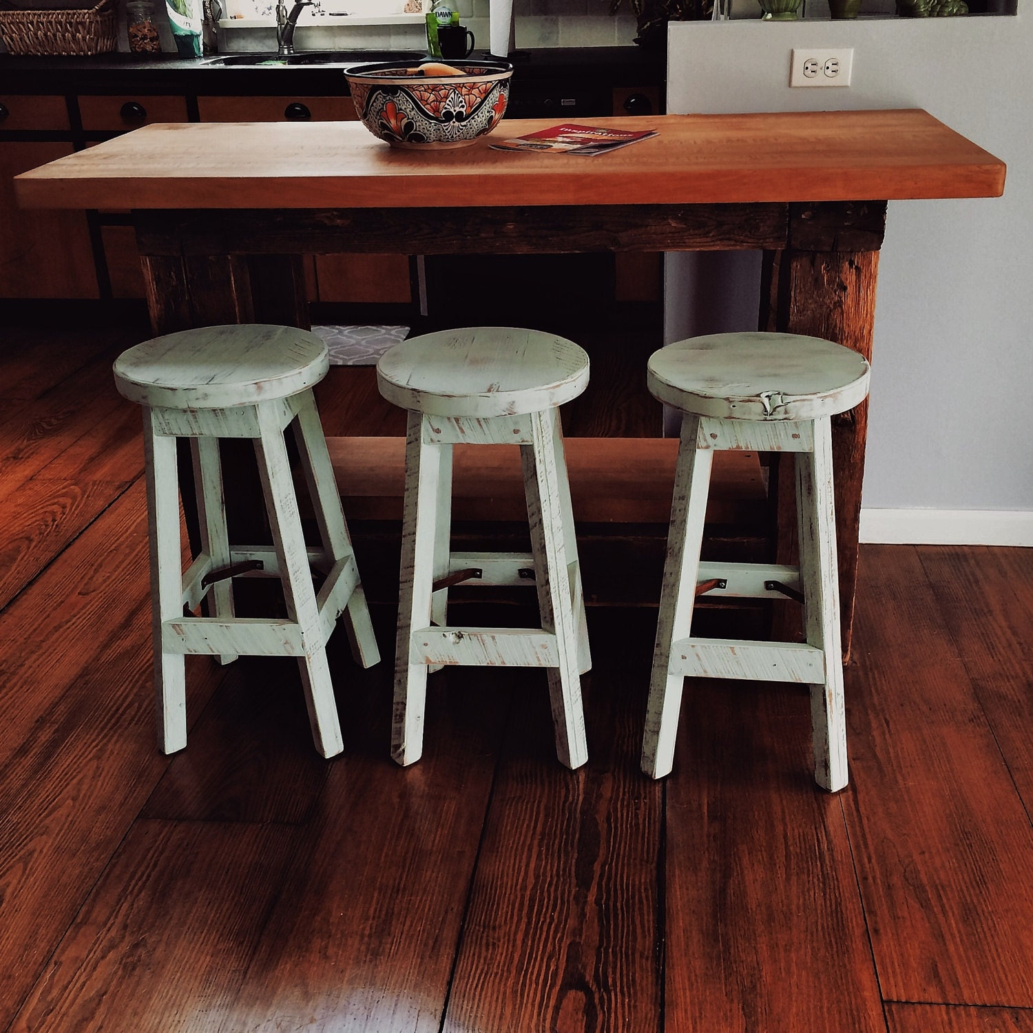 Bar Custom Wood And Woods: Bar Stool Rustic Reclaimed Barn Wood Finished W/Round Top