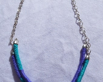 Fashion necklace made with Kumihimo braiding technique Purple and green / modern and unique for summer