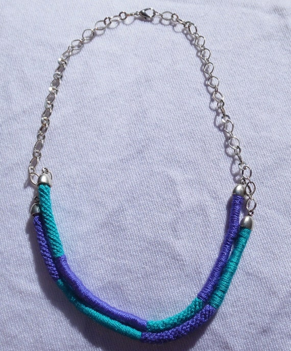 fashion necklace made with kumihimo braiding technique purple