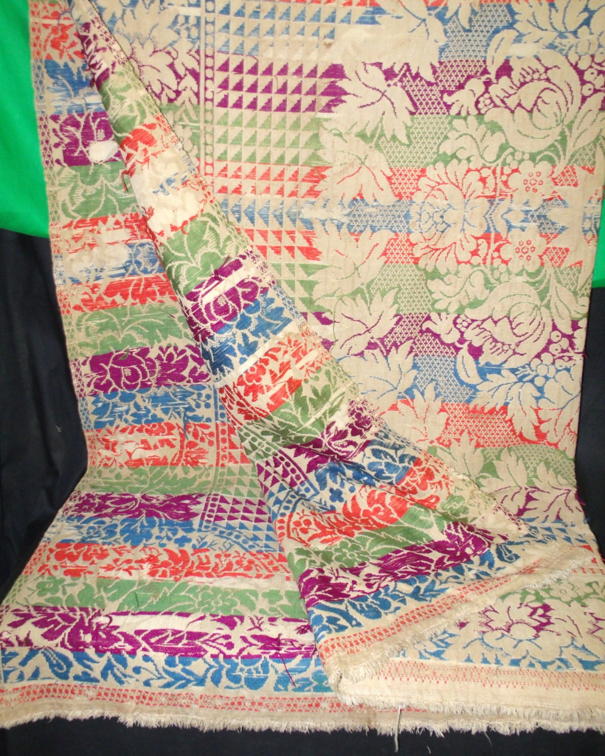 Large Antique Blanket Rug Textile Fabric By