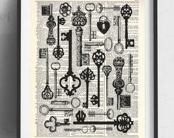 Vintage Keys Upcycled Dictionary Art Print Repurposed Book Print Recycled Antique Dictionary Page - Buy 2 Get 1 FREE
