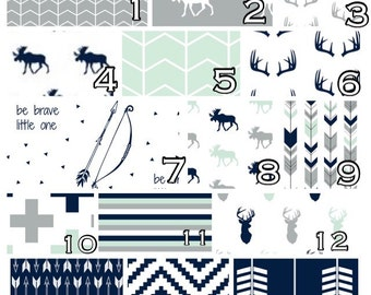 Woodland Crib Bedding: Navy, Gray, Mint Northern Lights Moose, Deer Custom order crib sheet, skirt, changing cover, blanket, pillow.