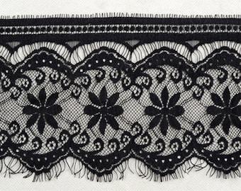 black Lace strip sold by 3yardS,wedding Lace trim, 13.5cm Eyelash lace for lace dress-036