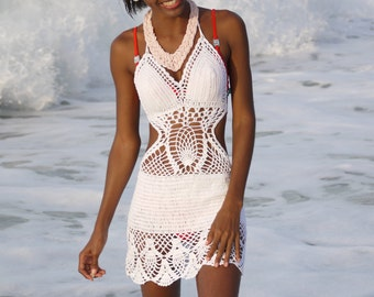 Handmade crochet dress see trough 04. Bikini cover up
