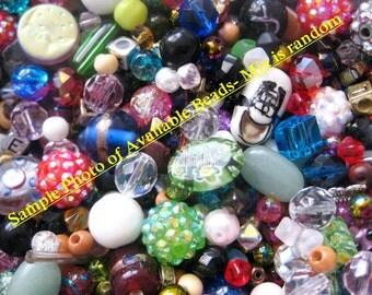 "4OZ, 3""x 3"" STUFFED BAG O' BEADS- Bead Mix- Bead Soup- Assorted Beads-Bead Lot"