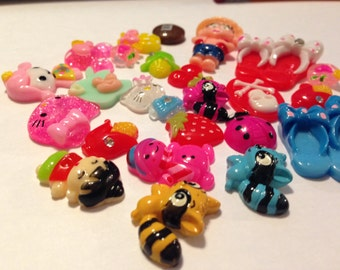 25 Raccoon + Mixed Cabochons, flat back cabochons, resin, crafts, scrapbook, Jewelry, hair bow, Cell Phone Bling
