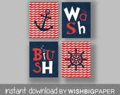 Nautical Bathroom Wall Art Prints - Set of Four (4)- Instant Download. Boy Nautical Bath Art. Nautical Bath Art.Nautical Bath Decor. Anchor