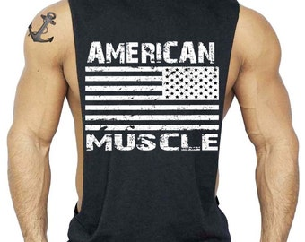 American Muscle T-Shirt Bodybuilding Tank Top All size S-3XL