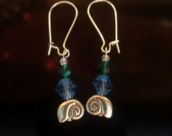 Sterling silver and Swarovski Crystal sea snail shell earrings