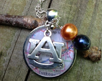 Auburn University, AU necklace, map of Auburn under glass pendant with an AU charm and orange,  and blue beads, War Eagle! Auburn jewelry