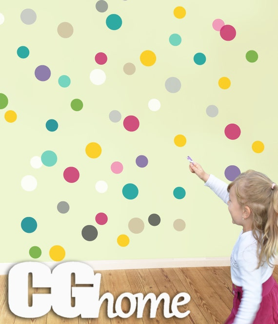 confetti wall 3 inches 80 DOTS polka rainbow circle wall copper DECAL 10 colors wall stickers for kids CGHOME multicolor