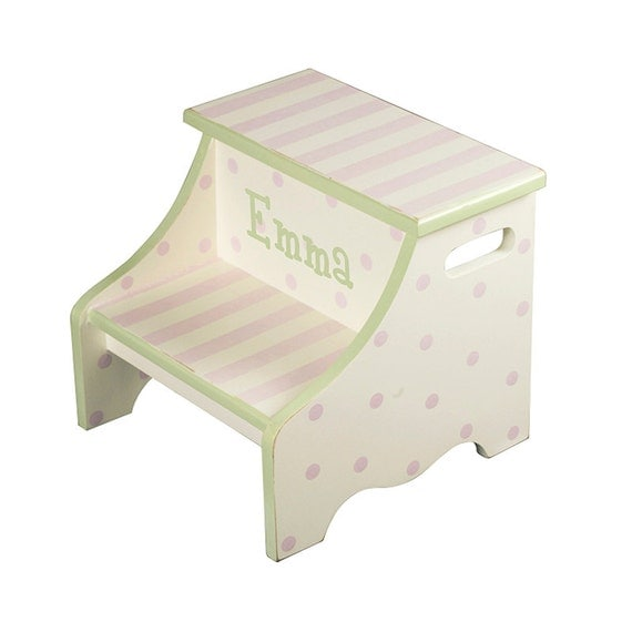 Child S Step Stool Pink And Green Stripe Polka By