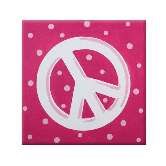 Peace Sign Bedroom Accessories: Items Similar To Teen Art- Pink Peace Symbol- Peace Sign