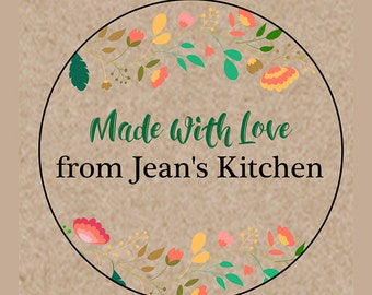 """Personalized Kitchen Labels - Custom Canning Labels - Organic Labels - Jam Labels - Choose Colors - 2"""" & 2.5"""" round stickers"""