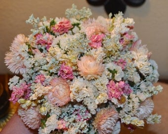 Dried Flower Wedding Bouquet, Wedding Bouquet, Pink Bouquet,  Bridal Bouquet - Can Be Made to Order