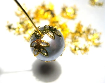 50pcs Gold Tone Flower Filigree Bead Caps 15mm