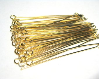 100pcs Gold Plated Eye Pins 2'' (50mm)21ga (No.661)