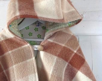 Children's Girls Woollen Winter Cape with Hood.Made to order.