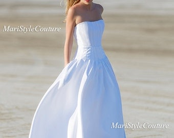 Offer! Mikado Wedding gown with pockets on sides, Wedding dress, chick glamour dress, ball gown