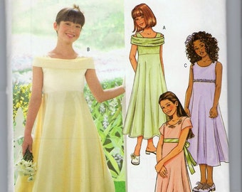 Butterick B4122 Sewing Pattern Girls' Long Dress Flower Girl Dress Shoulder Sleeve Options 12 14 16