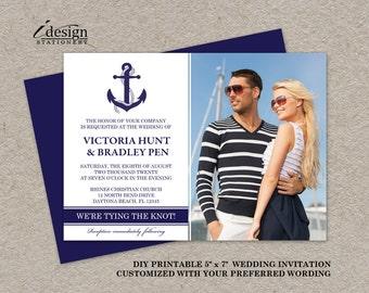 DIY Nautical Photo Wedding Invitations, Printable Nautical Themed Invitation, Marine Wedding Invitations, Navy Blue Anchor Wedding Invites