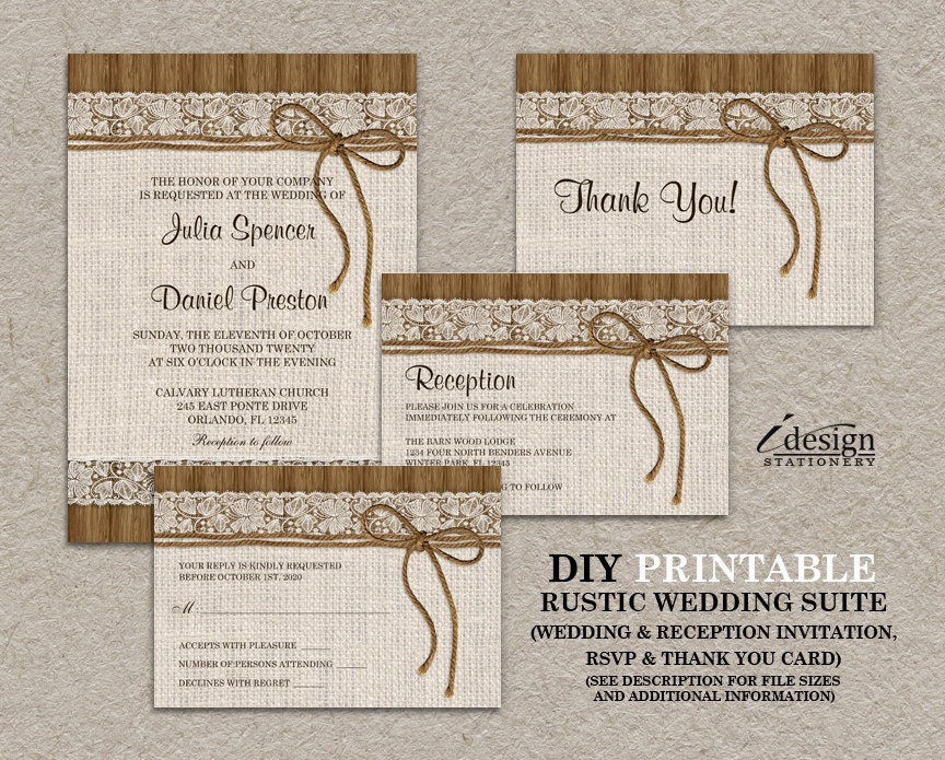 Wedding Invitations With Burlap: DIY Printable Rustic Burlap And Lace Wedding Invitation Set