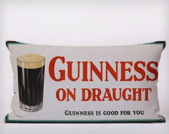 Guinness On Draught Guinness Is Good For You - Customizeable Personlized   -Cushion Fabric Panel Or Case or with Filling