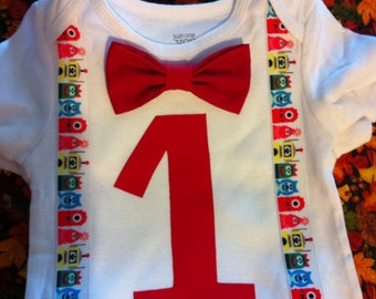 Yo gabba gabba bowtie onesie - first birthday
