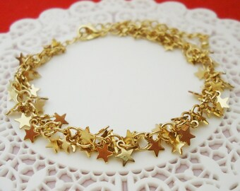 187. Gold plated, Little strs charms chain Bracelet