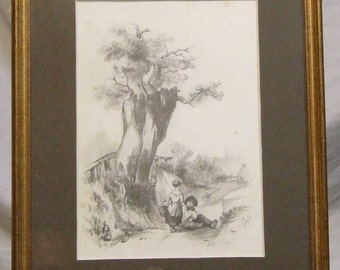 Antique 19c pencil drawing Children in a lane Initialled S.H 1842  etsy global gift