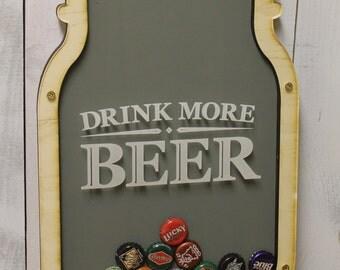 Drink More Beer/Bottle Cap Holder/Bottle Cap Display/Mason Jar/Beer Decor/Bar Decor/Father's Day/Man Gift/Bottle Cap Collector/Cap Display