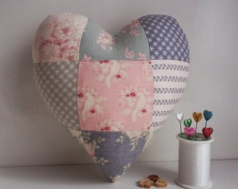 pincushion,heart shaped pincushion,pincushions,pin cushion,pin cushions,fabric hearts,heart,mini pillow,patchwork pincushion,cushion,heart,