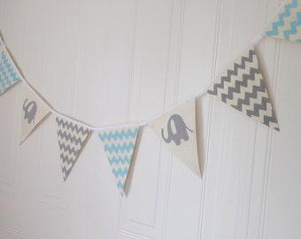 Baby blue and grey nursery décor baby shower, baby boy, elephant, chevron, bunting