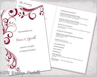 Catholic Wedding program template Sangria Scroll