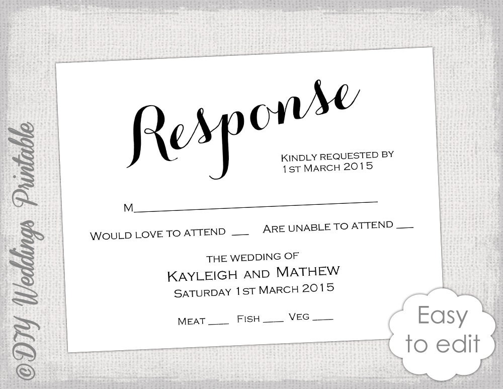 rsvp cards for weddings templates rsvp template diy calligraphy carolyna printable