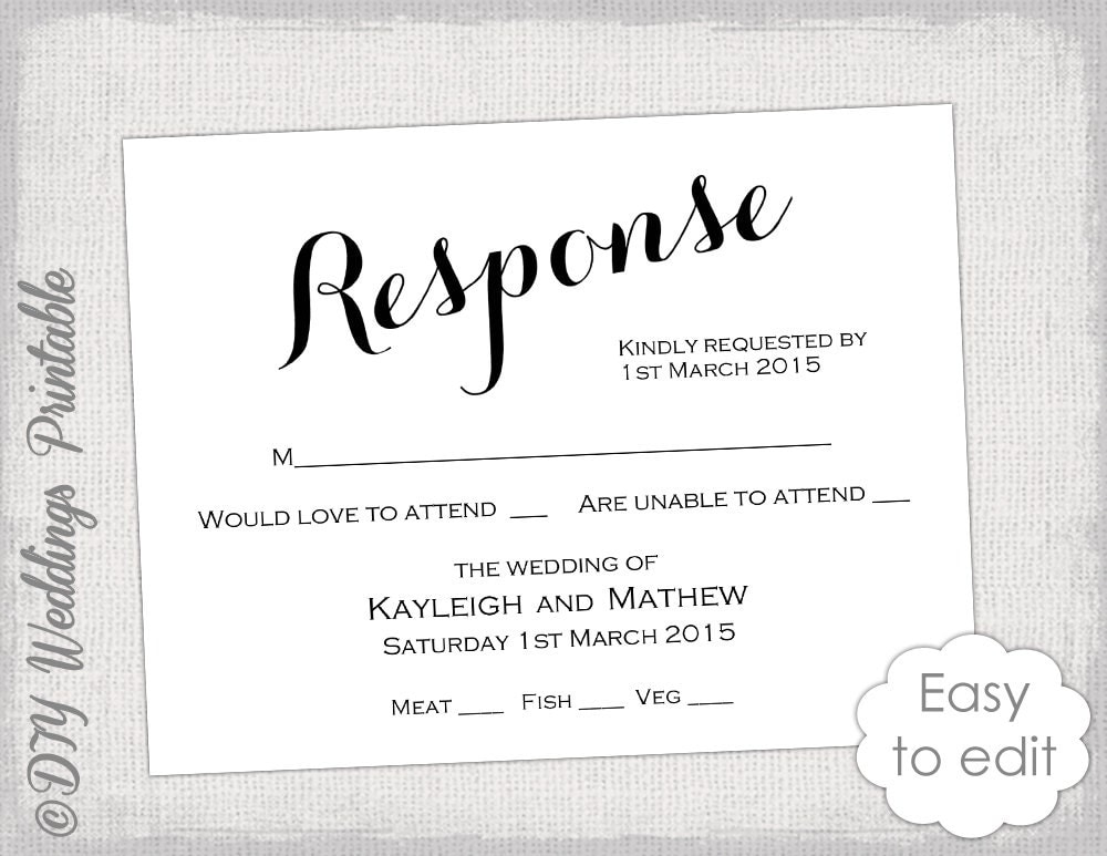Rsvp Template Diy Calligraphy Carolyna Printable